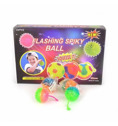 Piłka z kolcami ze światełkiem i uchwytem 1z4 wzorów, 6,5cm