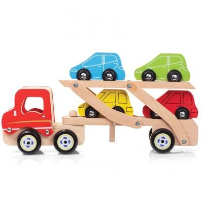 Drewniany transporter z samochodami