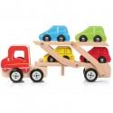 Drewniana ciężarówka z samochodami