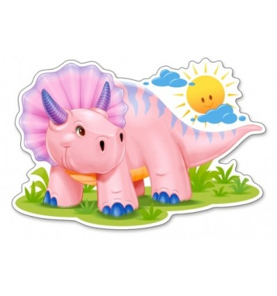 Różowy Dinozaur – Puzzle Konturowe