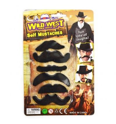 """Przyklejane wąsy """"Dziki zachód"""" 6 sztuk 6-8cm"""